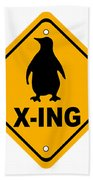 Penguin Crossing Sign Beach Towel