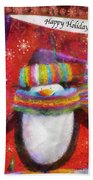 Penguin Happy Holidays Photo Art Beach Towel