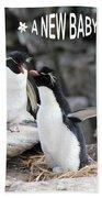 Penguin New Baby Card Beach Towel