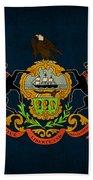 Pennsylvania State Flag Art On Worn Canvas Beach Towel