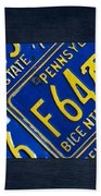 Pennsylvania State License Plate Map Beach Towel