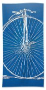 Penny-farthing 1867 High Wheeler Bicycle Blueprint Beach Towel