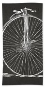 Penny-farthing 1867 High Wheeler Bicycle Patent - Gray Beach Towel