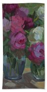 Peonies In The Shade Beach Towel