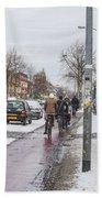 People On Bicycles In Winter Beach Towel