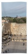 People Praying At At Western Wall Beach Towel