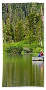 Perfect Sunday - Two People Fishing On A Lake In Mammoth California. Beach Towel