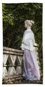 Period Lady On Bridge Beach Towel
