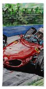 Phil Hill At Nurburgring. Beach Towel