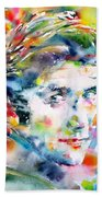 Phil Ochs - Watercolor Portrait Beach Towel