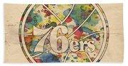 Philadelphia 76ers Retro Poster Beach Towel