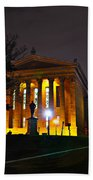 Philadelphia Art Museum  At Night From The Rear Beach Towel by Bill Cannon