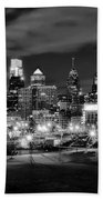 Philadelphia Black And White Cityscape Beach Towel