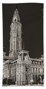Philadelphia City Hall Mono Beach Towel