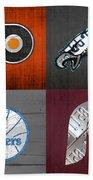 Philadelphia Sports Fan Recycled Vintage Pennsylvania License Plate Art Flyers Eagles 76ers Phillies Beach Sheet