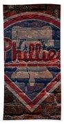 Phillies Baseball Graffiti On Brick  Beach Towel by Movie Poster Prints