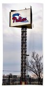 Phillies Stadium Sign Beach Towel by Bill Cannon