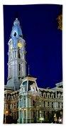 Philly City Hall At Night Beach Towel