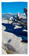 Photographer On Top Of Sentinel Dome In Yosemite Np-ca  Beach Towel
