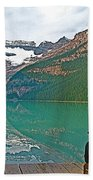 Photographers At Lake Louise In Banff National Park-ab Beach Towel