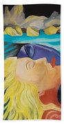 Picasso Inspired Hand Embroidery Beach Towel