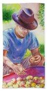 Picking Apples Beach Sheet