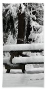 Picnic Table In The Snow Beach Towel