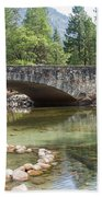 Picturesque Bridge In Yosemite Valley Beach Towel