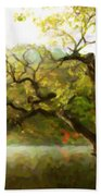 Picturesque Foggy Lake Beach Towel