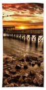 Pier At Smith Mountain Lake Beach Towel