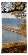 Pier In The Fall Beach Towel