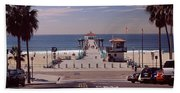 Pier Over An Ocean, Manhattan Beach Beach Towel