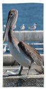 Pier Brown Pelican Beach Towel
