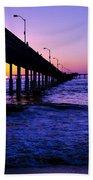 Pier Sunset Ocean Beach Beach Towel
