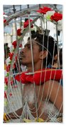 Pierced Hindu Devotee Wears Kavadi At Thaipusam Singapore Beach Towel