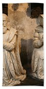 Pierre Jeannin And His Wife Sculpture Cathedral Autun Beach Towel