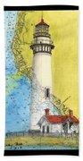 Pigeon Pt Lighthouse Ca Nautical Chart Map Art Beach Towel