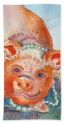 Piggy In Pearls Beach Towel