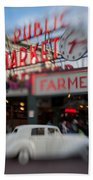 Pike Place Publice Market Neon Sign And Limo Beach Towel