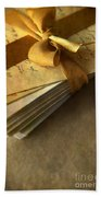 Pile Of Letters With Golden Ribbon Beach Towel