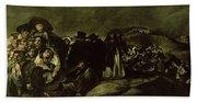 Pilgrimage To San Isidros Fountain, C.18213 Oil On Canvas Beach Towel