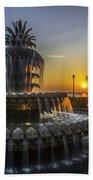 Pinapple Fountain Charleston Sc Sunrise Beach Towel