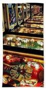 Pinball Arcade Beach Towel by Benjamin Yeager