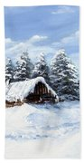 Pine Forest In Winter Beach Towel