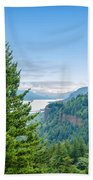 Pine Tree And Columbia River Gorge Beach Towel