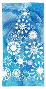 Pine Tree Snowflakes - Baby Blue Beach Towel