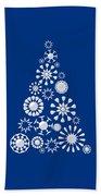 Pine Tree Snowflakes - Dark Blue Beach Towel