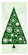 Pine Tree Snowflakes - Green Beach Towel