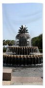 Pineapple Fountain Charleston River Park Beach Towel