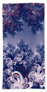 Pink And Blue Morning Frost Fractal Beach Towel